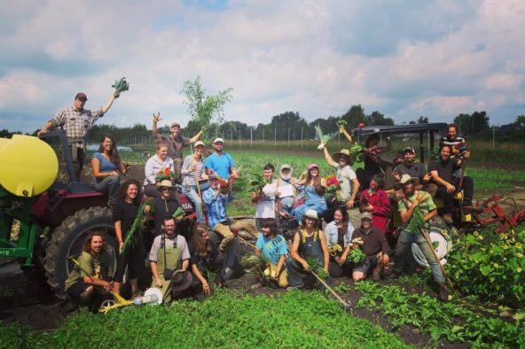 Groupe d'élèves dans les champs de la ferme-école